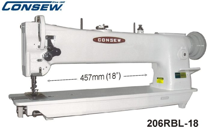 Consew 206RBL-18 Heavy Duty, Single Needle, Drop Feed, Needle Feed, Compound Feed, Alternating (Walking) Presser Feet, Lockstitch Machine