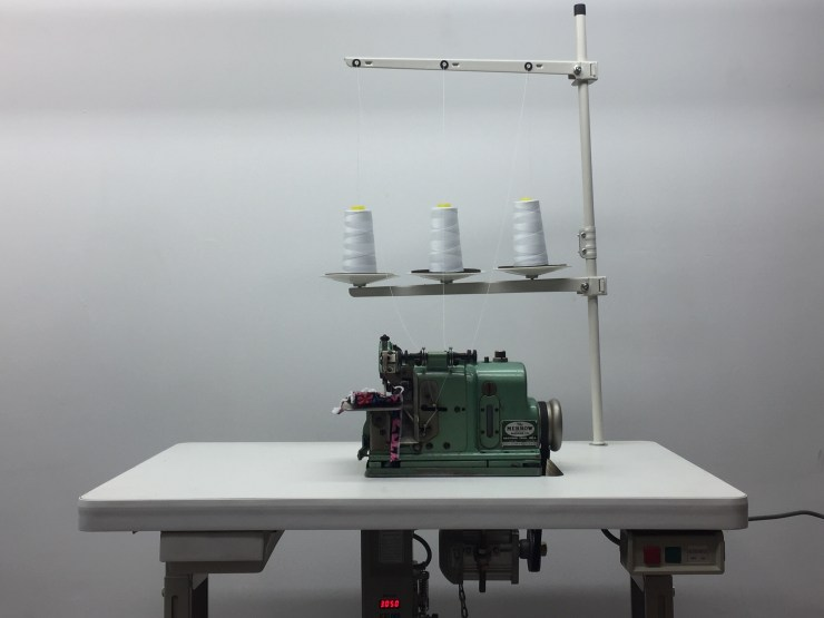 """Merrow MG3-DW-4 Three Thread Over Lock Complete with Table Stand and 30"""" Table with wheels & Servo Motor Sewing Lycra Stretch Fabic"""