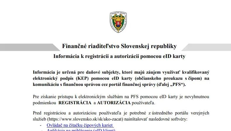 Informácia k registrácii a autorizácii pomocou eID karty