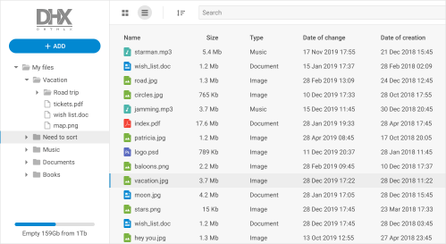 small resolution of file manager with dhtmlx dataview