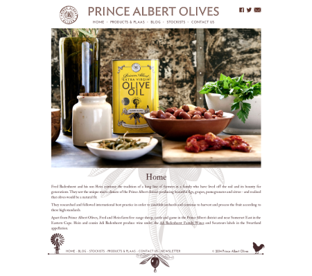 Prince Albert Olives website screenshot
