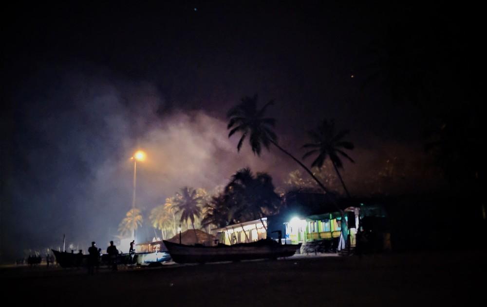 A night scene in a goan village