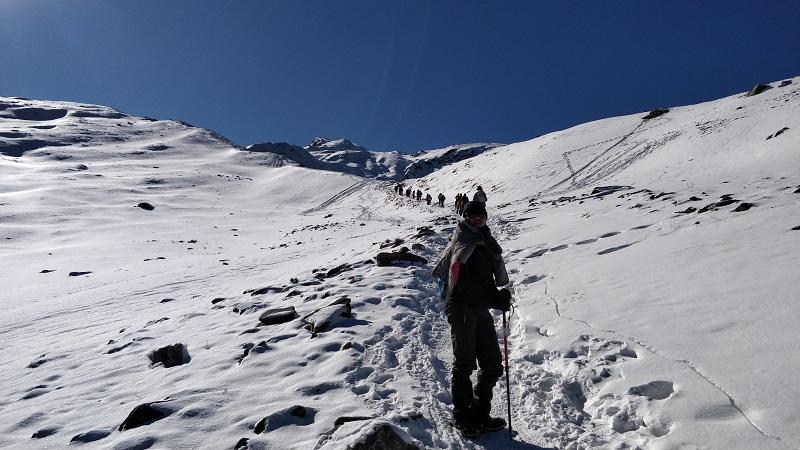 Through the snow clad Gorson Bugyal