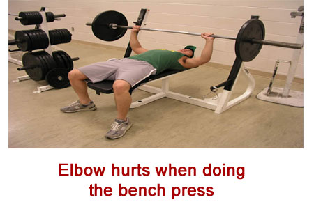 outer elbow pain bench press