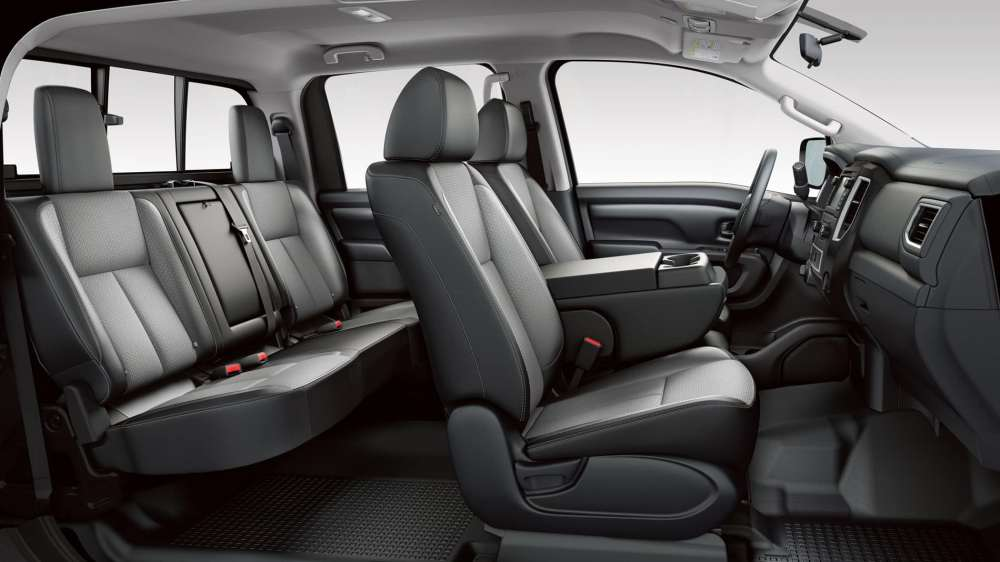 medium resolution of inside the 2019 nissan titan and titan xd share identical seating measurements in their single cab setups these pickups have seating for up to three in