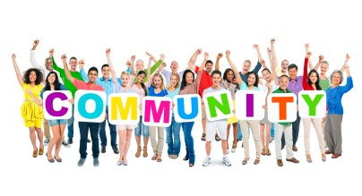 The word community spelled out