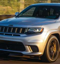 a jeep grand cherokee diving down an open track [ 1600 x 520 Pixel ]
