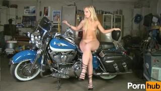 Sexy blonde photoshoot on motorcyle