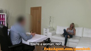 FakeAgent Horny Blonde babe impresses in Casting interview