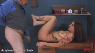 Anal virgin gets training wheels shoved up her ass before assfucking