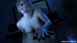 Nighttime masturbation with blonde babe Dahlia Sky