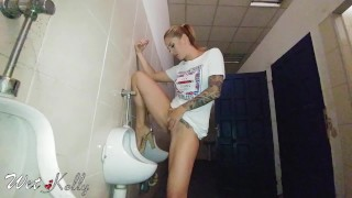 Hard pee challenge in the public man restroom