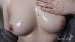 Massaging My Boobs With lots of oil