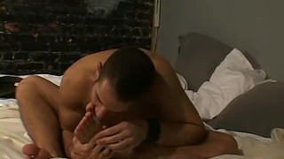 Deviant homosexual licks his socks and sucks his toes