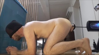 Balls deep ass fuck for moaning str8 guy by sex machine, a2m, anal gaping