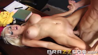 BRAZZERS - Big Tits Blone Rikki Six Gets pounded on the job