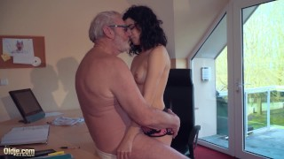 Teen fucks old man rides his big cock and sucks it deepthroats licking cock