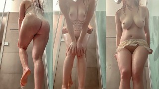 Ginger Big Natural Tits PAWG MILF Washing and Fucking in Shower in BodySuit