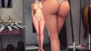 Tattooed and glasses beauties having futa sex in a dressing room