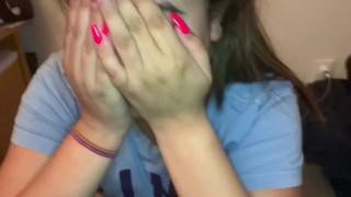Shy virgin teen Baby Selena gives hot first blowjob!