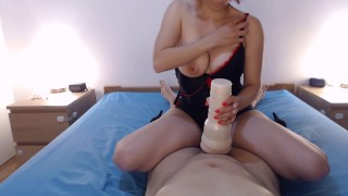 Fleshlight POV, I don't STOP after he cum !!! POST ORGASM