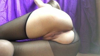 Torn pantyhose and fucked pussy with a rolling pin