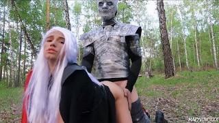 Game of Thrones cosplay: Daenerys & Arya loves big dick of the Night King