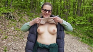 Public Blowjob on a Hiking trail in the mountains.