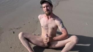 Wank and Cum on the Beach