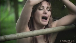 Teen amateur slave tied up outdoors has screaming orgasm and endures pain