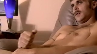 Fit amateur with mustache jerking his sweet dick off