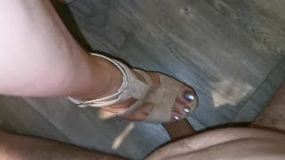 Cock crush and cum on silver long nails [with heels]
