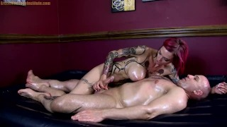 Huge Tit Oil Covered Babe Grinds, Suck and Teases Cock - Anna Bell Peaks