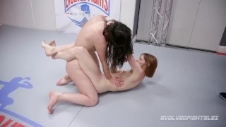 Juliette March makes Alexa Nova gag on a strapon in lesbian sex wrestling