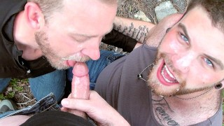 Cum Club: Two Bearded Cum Lovers Share a Load while Dodging Bullets