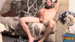Bearded jock Nolan jerks off straight big cock solo