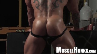 Huge German bodybuilder in leather with big dick