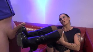 Footjob with Leather Boots and Monster Cumshot