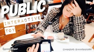 Public Shopping female orgasm interactive toy beautiful face agony torture