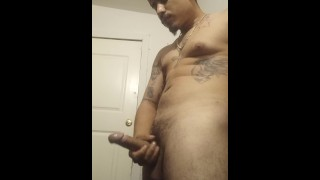 Sexy Latino stripping stroking Big Dick! Who wants a show?! Drop a comment!