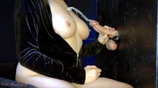 Edged Gloryhole Cock Explodes Onto Tits (CUM ROPES)