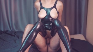 Slave fuck her mistress in latex catsuit surprise for him custom request