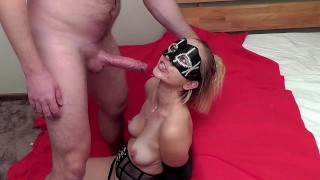 Hands tied brutal sloppy deepthroat. She almost bite the cock off!!! (4:50)