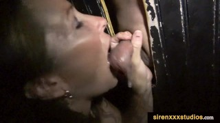 Gloryhole Mom Sucks Cum Out of Many Cocks