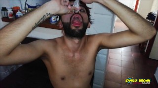 Slim Twink Fucking The Cum Out Of Me. I Drink His Cum From The Condom After