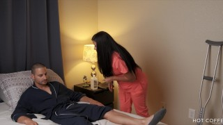 SLUTTY LATINA NURSE: masturbates patient and fucks him in the shower (POV)