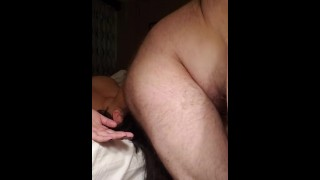 Eager whore gets farted on and asks for more.