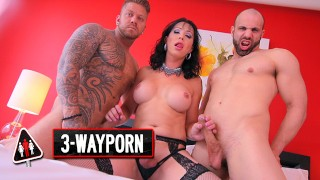3-Way Porn - Two Guy On a TGirl Double Anal
