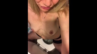 Cumming while peeing in fishnets and crotchless panties