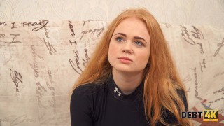 Debt4k. Cunning guy fucks shaved pussy of red-haired cutie Rose Wild